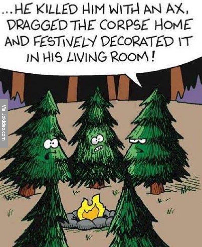 He-killed-him-with-an-ax---funny-christmas-tree-cartoon